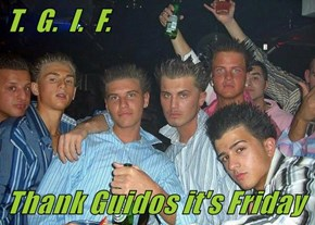 T.  G.  I.  F.   Thank Guidos it's Friday
