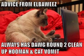 ADVICE FROM ELBAWEEZ  ALWAYS HAS DAWG ROUND 2 CLEAN UP HOOMAN & CAT VOMIT