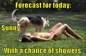 Forecast for today: Sunny With a chance of showers.