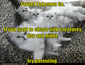 Forget Pokemon Go. If you want to chase wild creatures day and night, try parenting.