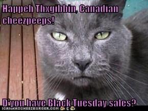 Happeh Thxgibbin, Canadian cheezpeeps!  D'you have Black Tuesday sales?
