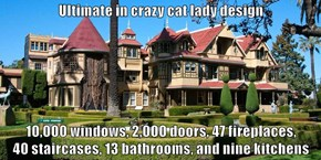 Ultimate in crazy cat lady design   10,000 windows, 2,000 doors, 47 fireplaces,                       40 staircases, 13 bathrooms, and nine kitchens