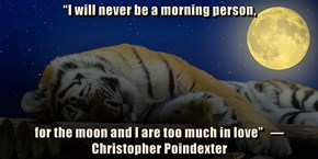 """I will never be a morning person,   for the moon and I are too much in love""   ― Christopher Poindexter"
