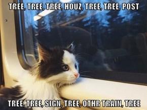 TREE, TREE, TREE, HOUZ, TREE, TREE, POST  TREE, TREE, SIGN, TREE, OTHR TRAIN, TREE