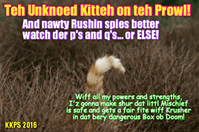 Rio LoLympics: Wiff evil Rushin spies eberywhere, teh Unknown Kittie redubbles hims protecshuns ob Mischeffs!