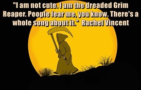 """I am not cute. I am the dreaded Grim Reaper. People fear me, you know. There's a whole song about it.""  Rachel Vincent"
