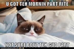 U GOT TEH MORNIN PART RITE  NOT SURE BOUT TEH GUD PART