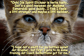 Rio LoLympics: YAY! Mischeff drinks teh Spirit Eleixir dat her daddy Chef Punkin mixed up! But will it work? Will it be enuff? Teh World holds it's collective breath in anticipation of teh upcoming battle between littl Mischeff and teh powerful Krusher!