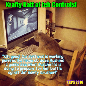 Rio LoLympics: Krafty Katt sets up an eggstensiv and sophisticated electronik surveillance system to make shur dat no sneaky Rushin spies get to see teh rigorous Eggsercize Routine dat Coach Bellbottoms set up for her!