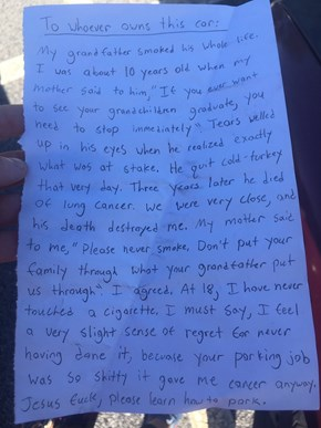 This is the Greatest Note of All Time to Leave For Someone Who Sucks at Parking