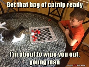 Get that bag of catnip ready  I'm about to wipe you out, young man