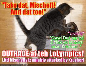 Rio LoLympics: Wiff just one sekond to go befor hims iz diskwalified in teh Box of Doom Event, Krusher suddenly runs onto teh platform and vishushly attacks teh unsuspecting Mischeff! Teh entire World is outraged at Krusher's unfair tactics!