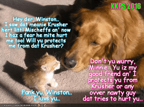 Rio LoLympix: After seeing Krusher's meanness in teh Box of Doom Event to sweet Mischeff, many smaller kitties everywher haz a fear and look for protecshuns..