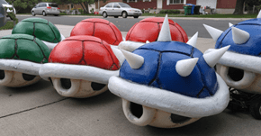 We Are All Doomed If This Dude Starts Selling These Huge Mario Kart Shells to Angry Drivers
