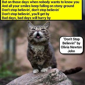 """Don't Stop Believin'"" by Olivia Newton John (recaption: http://tinyurl.com/jpyfm63"