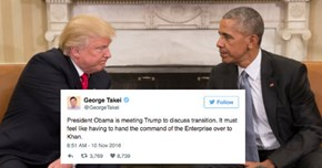 People Are Getting Hilariously Creative with Their Tweets after Obama and Trump Sat Down With Each Other