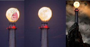 The Super Moon Was Photographed Hanging Over an Oil Refinery Chimney So It Became a Photoshop Battle