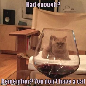 Had enough?  Remember? You don't have a cat