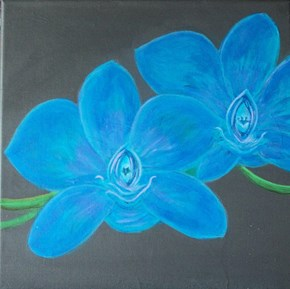 """For my orchid friends. Blue Orchids Dancing. 12xl12"""" stretched canvas For Sale"""