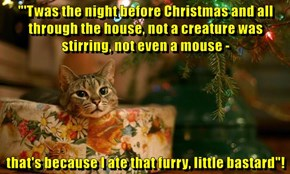 """""""'Twas the night before Christmas and all through the house, not a creature was stirring, not even a mouse -  that's because I ate that furry, little bastard""""!"""