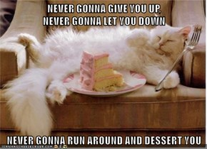 NEVER GONNA GIVE YOU UP,                                                   NEVER GONNA LET YOU DOWN  NEVER GONNA RUN AROUND AND DESSERT YOU