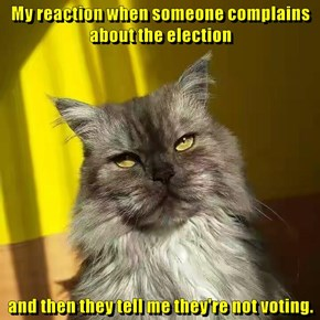 My reaction when someone complains about the election  and then they tell me they're not voting.