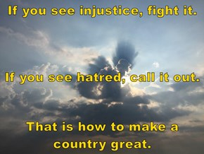 If you see injustice, fight it.  If you see hatred, call it out.  That is how to make a country great.