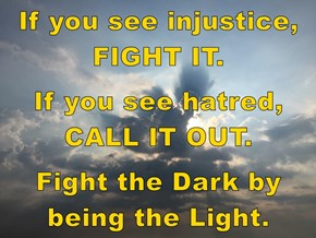 If you see injustice, FIGHT IT.  If you see hatred, CALL IT OUT.  Fight the Dark by being the Light.
