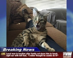 """Breaking News - Local man in traction after family cat dares him to touch right ear with left foot.  """"I neber thought he couldz do it!"""""""