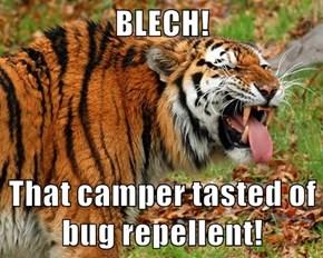 BLECH!  That camper tasted of bug repellent!