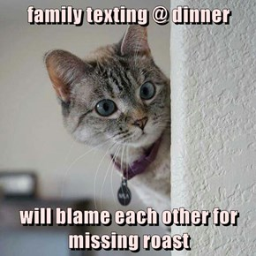 family texting @ dinner  will blame each other for missing roast