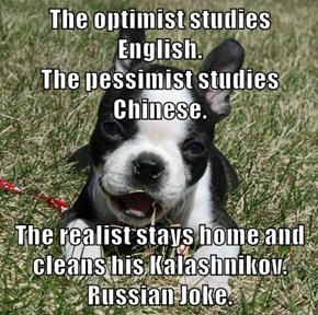 The optimist studies English.                                               The pessimist studies Chinese.  The realist stays home and cleans his Kalashnikov. Russian Joke.
