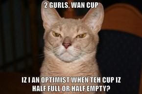 2 GURLS, WAN CUP  IZ I AN OPTIMIST WHEN TEH CUP IZ                                            HALF FULL OR HALF EMPTY?