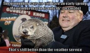 The groundhog says we will have an early spring. (Remember that he is only 46% accurate)  That's still better than the weather service