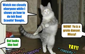 KKPS 2016: Missy demonstrates som great danse moves for Lustroid an' Shmerg an' a lot ob St. Francis shelter animals dat asked for help wiff der danse moves..