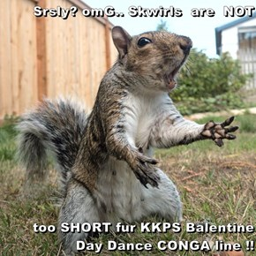 Srsly? omG.. Skwirls  are  NOT  too SHORT fur KKPS Balentine Day Dance CONGA line !!