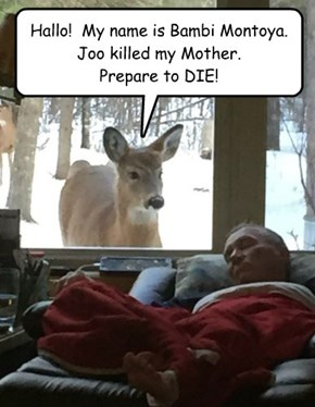 Hallo!  My name is Bambi Montoya. Joo killed my Mother. Prepare to DIE!