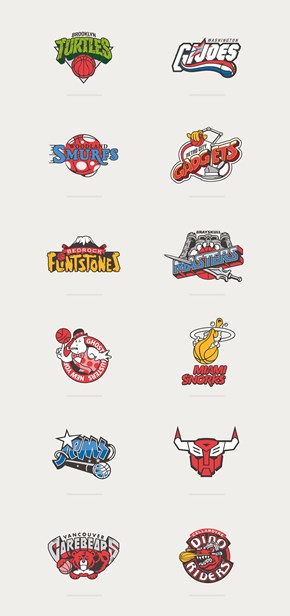 80s Cartoons Meet Basketball Logos