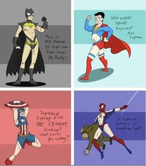 If Male Superheroes' Costumes Were Designed Like Female Superhero Costumes