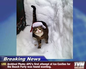 Breaking News - Archival Photo: APC's first attempt at Ice Castles for the Beach Party was found wanting.