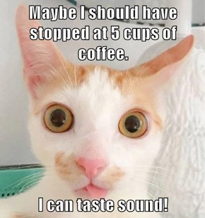 Maybe I should have stopped at 5 cups of coffee.  I can taste sound!