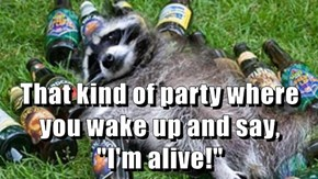 "That kind of party where you wake up and say,           ""I'm alive!"""