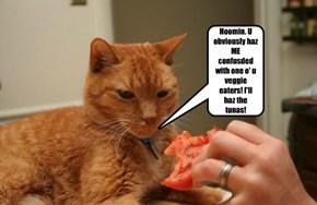 Hoomin. U obviously haz ME confusded with one o' u veggie eaters! I'll haz the tunas!