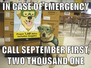 IN CASE OF EMERGENCY  CALL SEPTEMBER FIRST, TWO THOUSAND ONE