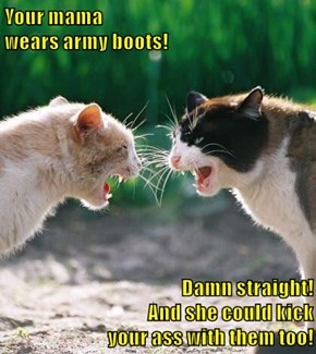 Your mama                                                                     wears army boots!                                               Damn straight!                                         And she could kick