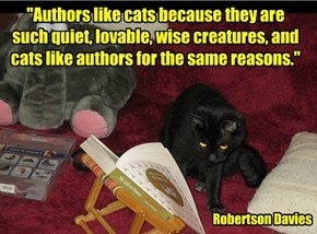 """""""Authors like cats because they are such quiet, lovable, wise creatures, and cats like authors for the same reasons."""""""