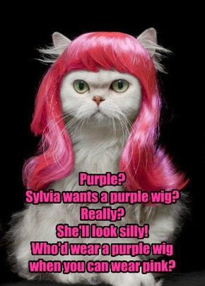 Purple? Sylvia wants a purple wig? Really? She'll look silly! Who'd wear a purple wig  when you can wear pink?