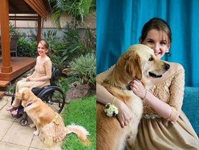 Service Dog Wears Matching Dress to Prom With Her Human