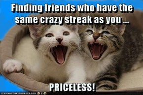 Finding friends who have the same crazy streak as you ...  PRICELESS!