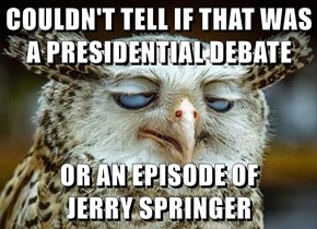 COULDN'T TELL IF THAT WAS A PRESIDENTIAL DEBATE  OR AN EPISODE OF                JERRY SPRINGER
